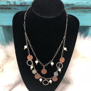 Silpada 925 Pearl Copper Coins Necklace N1567